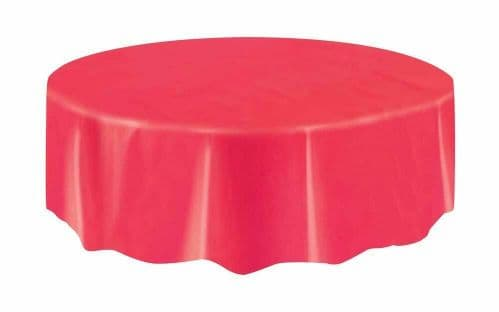 Red Round Plastic Tablecloths Christmas Table Cloths 7ft (2.13m) Table Cover